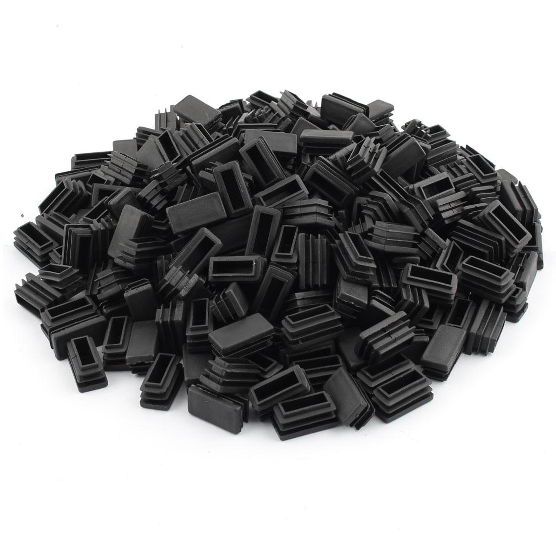 Home Office Plastic Rectangle Shaped Table Legs Tube Insert Black 30 x 15mm 250 Pcs