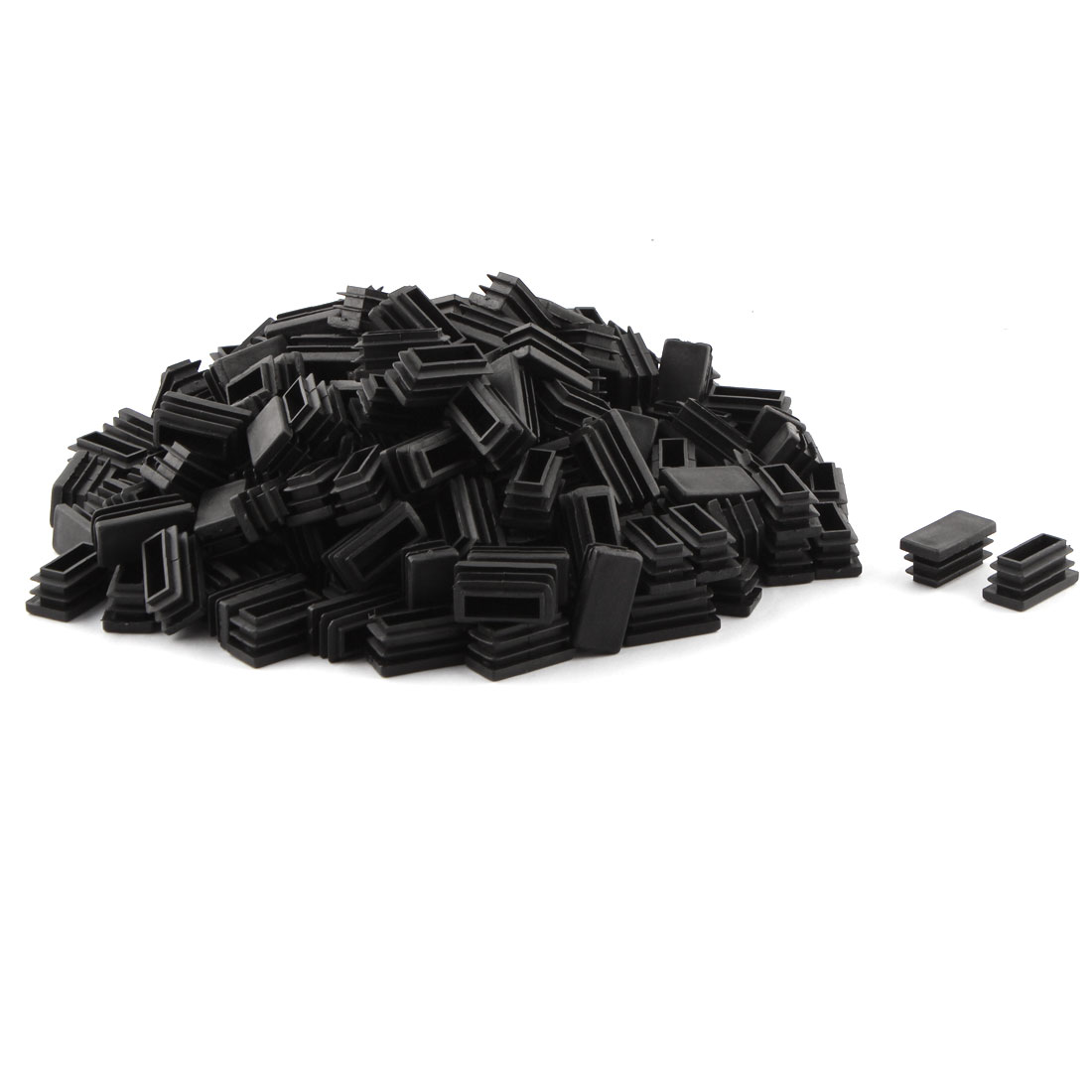 Plastic Rectangle Shape Threaded Desk Chair Leg Tube Insert Caps Black 30 x 15mm 200 Pcs