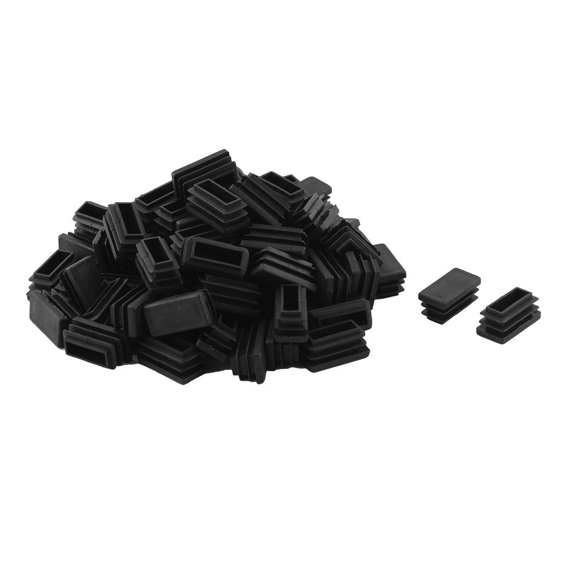 Furniture Desk Chair Leg Plastic Rectangle Shape Threaded Tube Insert Black 30 x 15mm 80 Pcs
