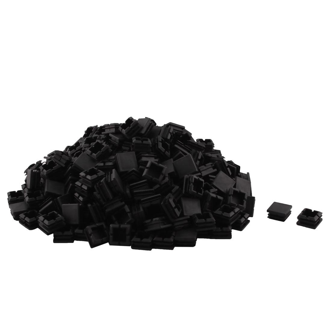 Plastic Square Table Chair Leg Feet Tube Pipe Insert End Cap Black 25mm x 25mm 300pcs