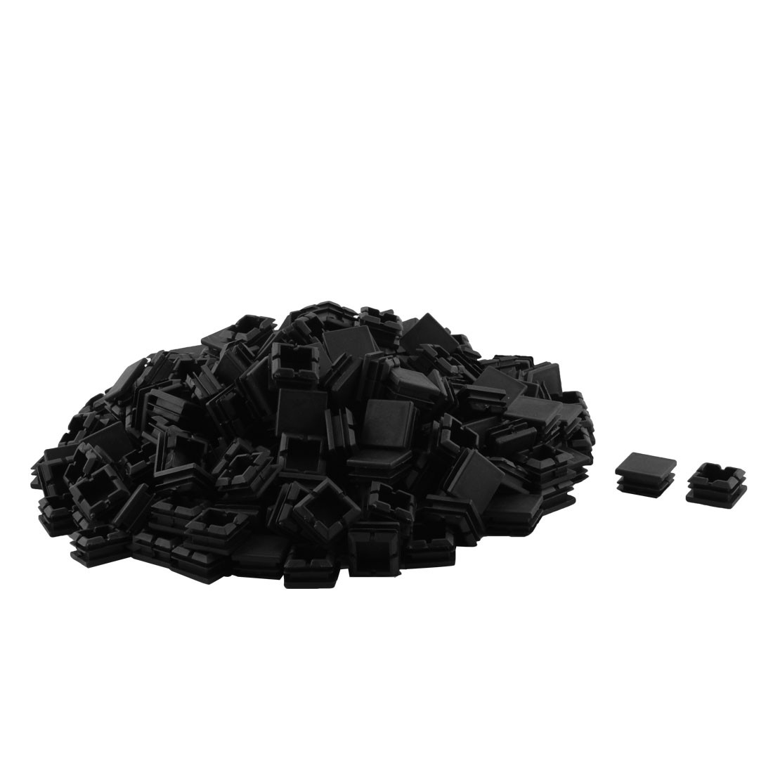 Plastic Square Table Chair Leg Feet Tubing Tube Insert Caps Covers Black 25 x 25mm 250pcs