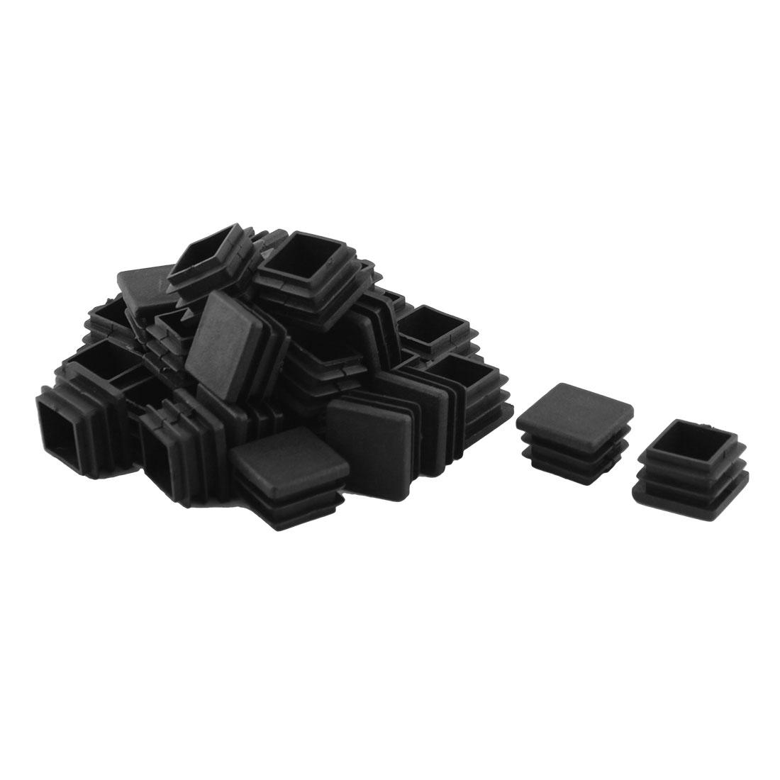 Home Office Plastic Square Table Chair Leg Tube Insert Black 20 x 20mm 30pcs