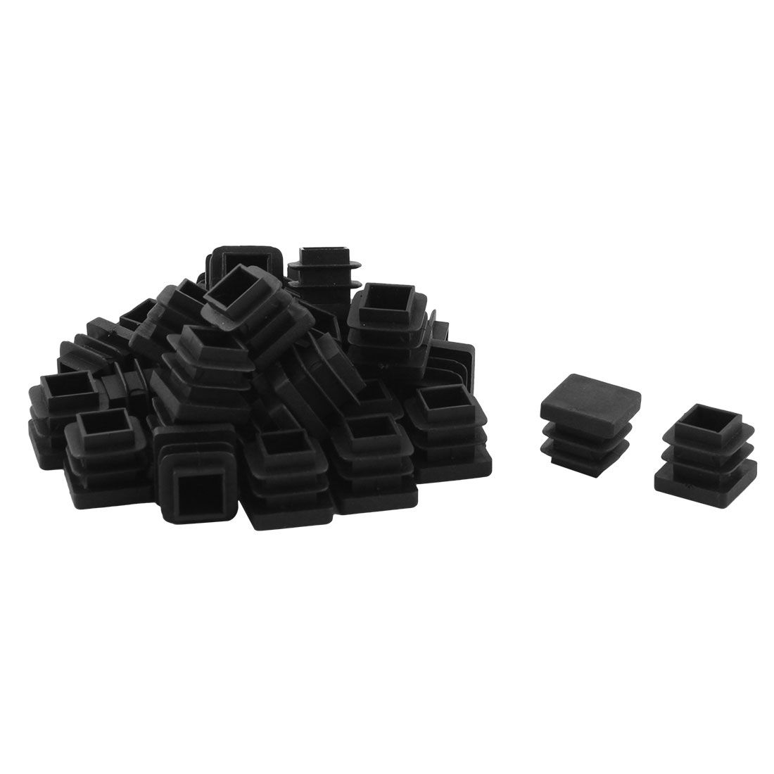 Home Office Plastic Square Table Chair Leg Tube Insert Black 16 x 16mm 80pcs