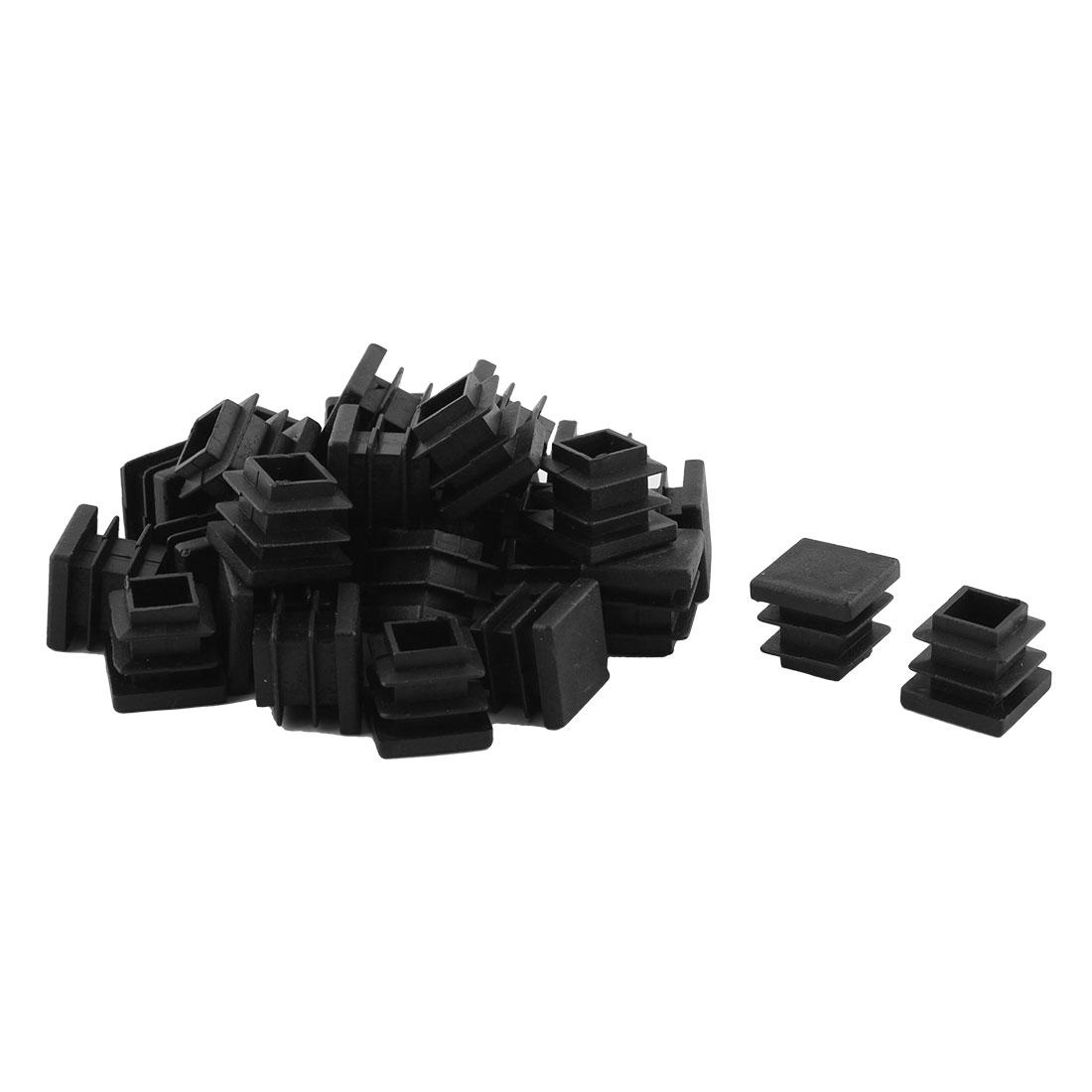 Home Office Plastic Square Table Chair Leg Tube Insert Black 16 x 16mm 30pcs