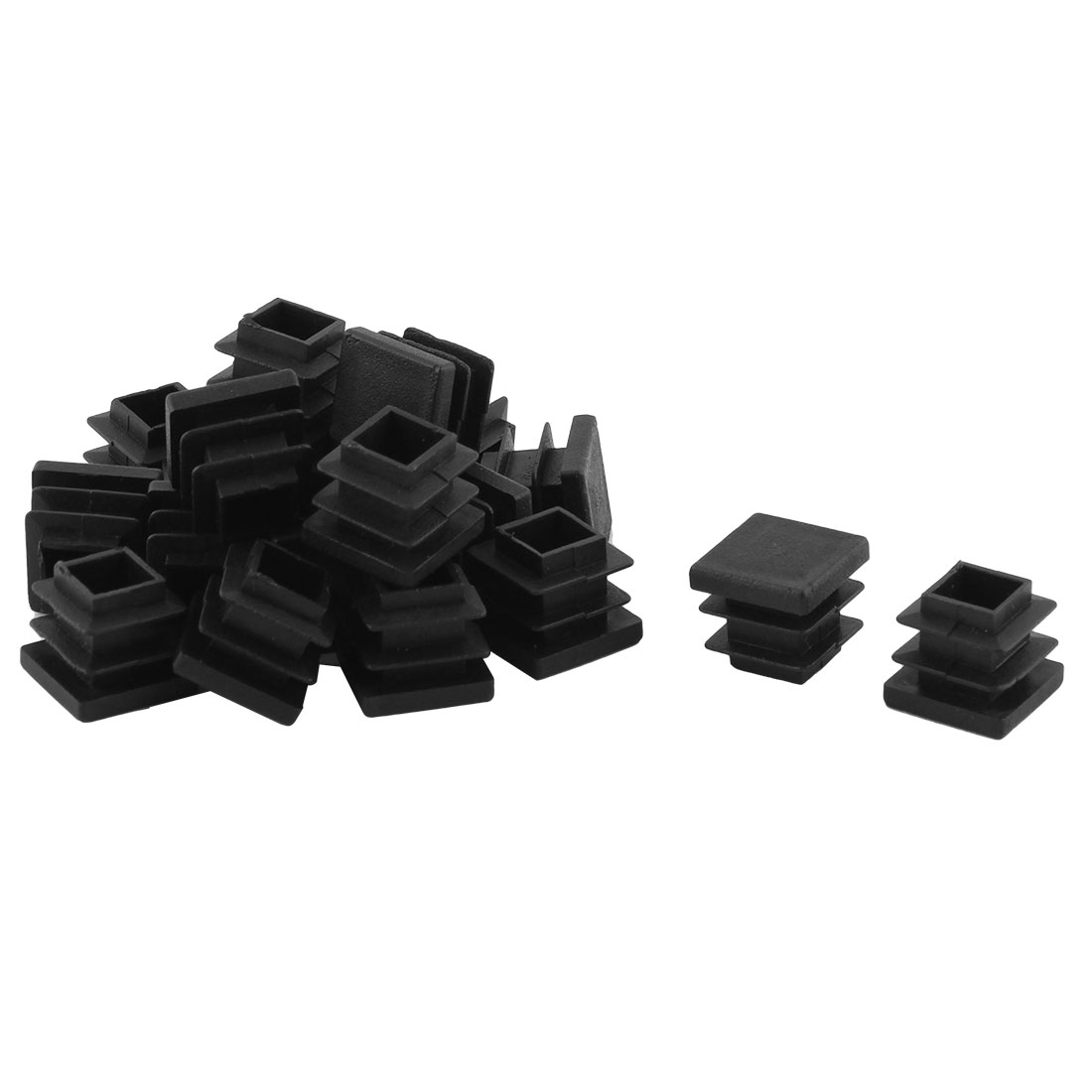 Home Office Plastic Square Table Chair Leg Tube Insert Black 16 x 16mm 20pcs