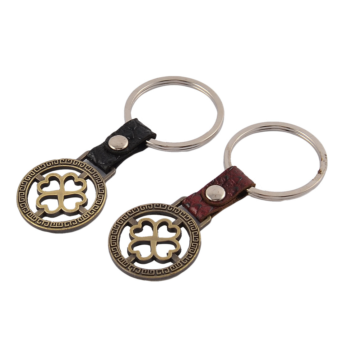 Couples Round Design Pendant Decoration Keychain Key Ring Keyring 2pcs