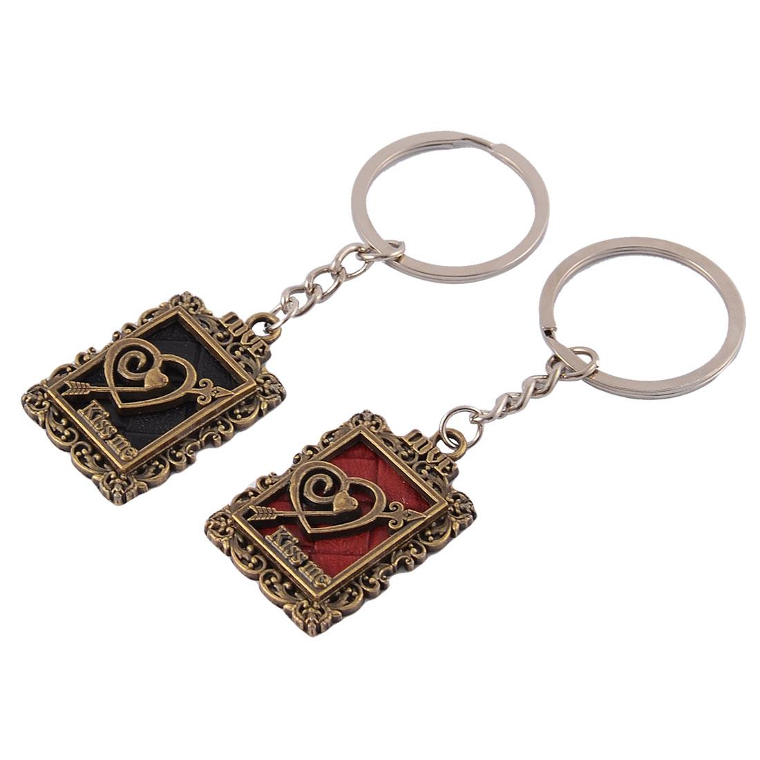 Lovers Pendants Ornament Keychain Key Rings Hanging Decor Keyring 2pcs