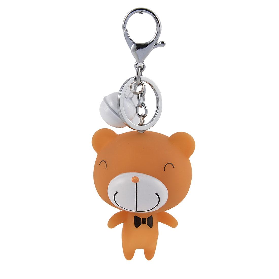 Purse Bear Shaped Pendant Decoration Keychain Key Ring Keyring Keyfob White Khaki
