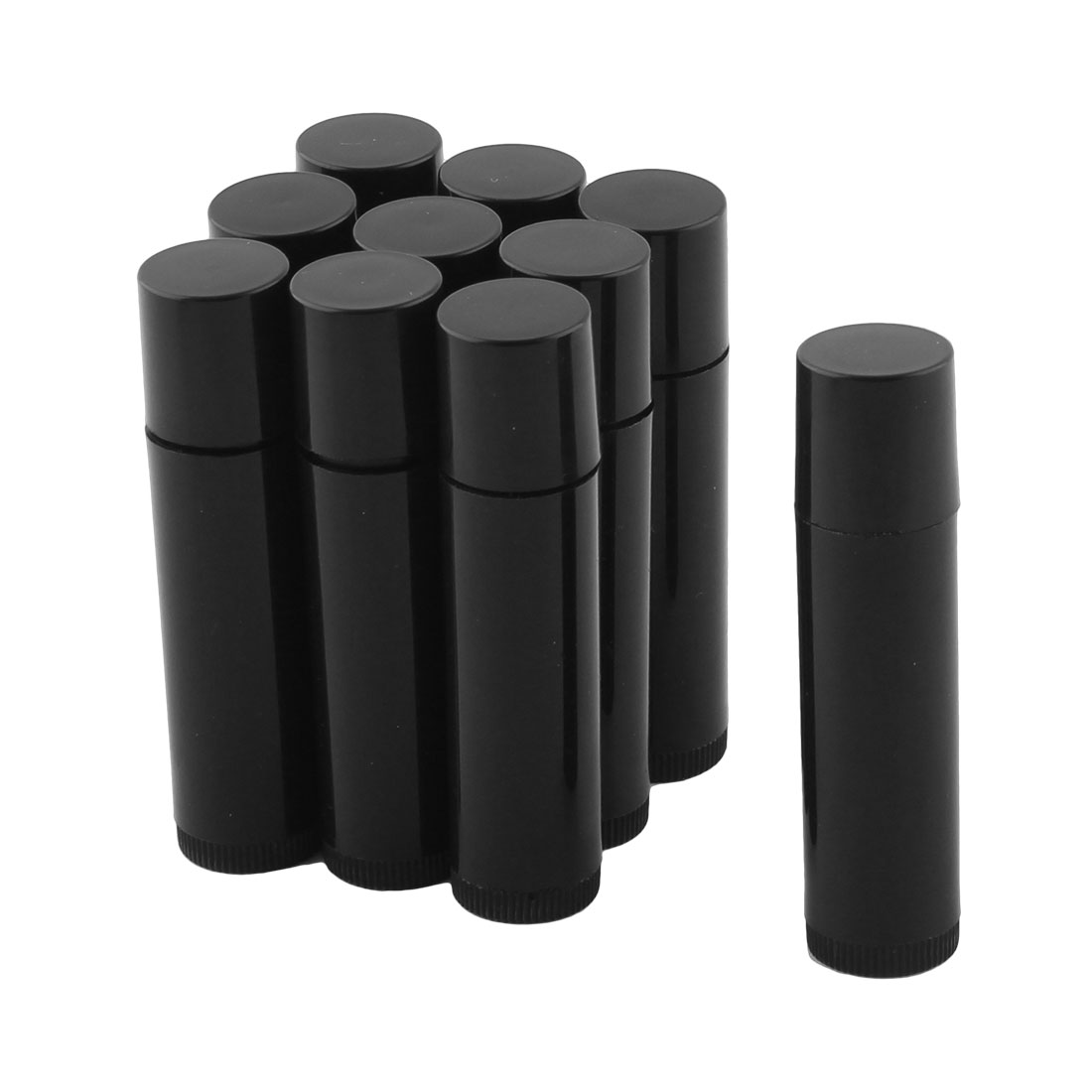 Lady Plastic Empty Lip Balm Tube Lipstick Chapstick Container Cosmetic Holder Black 10 Pcs