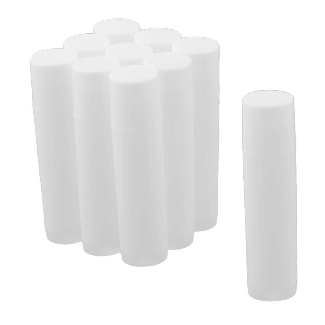 Lady Plastic Empty Lip Balm Tube Lipstick Chapstick Container Cosmetic Holder White 10 Pcs