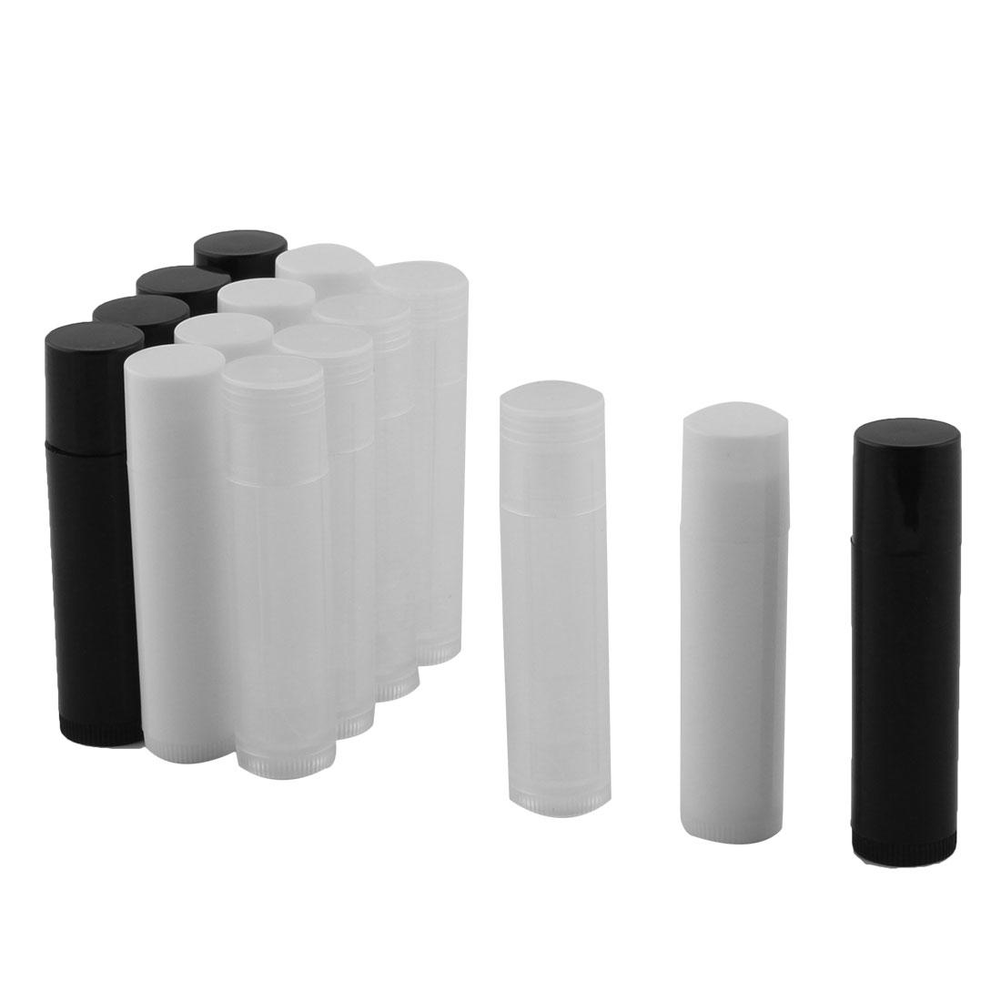 Women Plastic Empty DIY Lip Balm Tube Lipstick Chapstick Container Cosmetic Holder Black White 15 Pcs