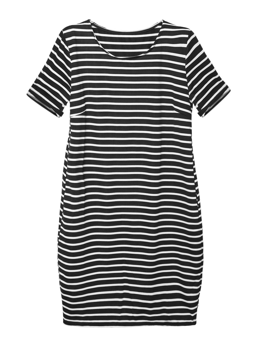 Women Cuffed Sleeves Slant Pockets Stripes Tunic Dress Black M