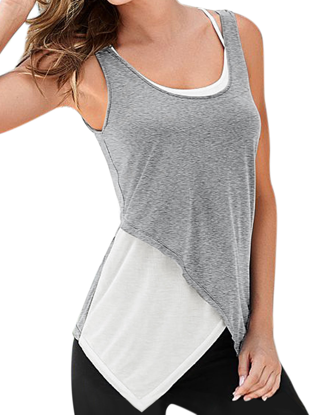 Women Round Neck Contrast Color Strappy Back Layered Tank Top Gray M
