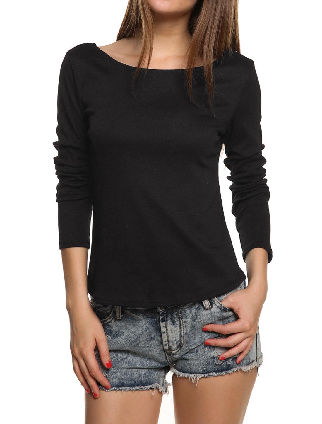 Women Crochet Panel Backless Slim Fit Top Black S