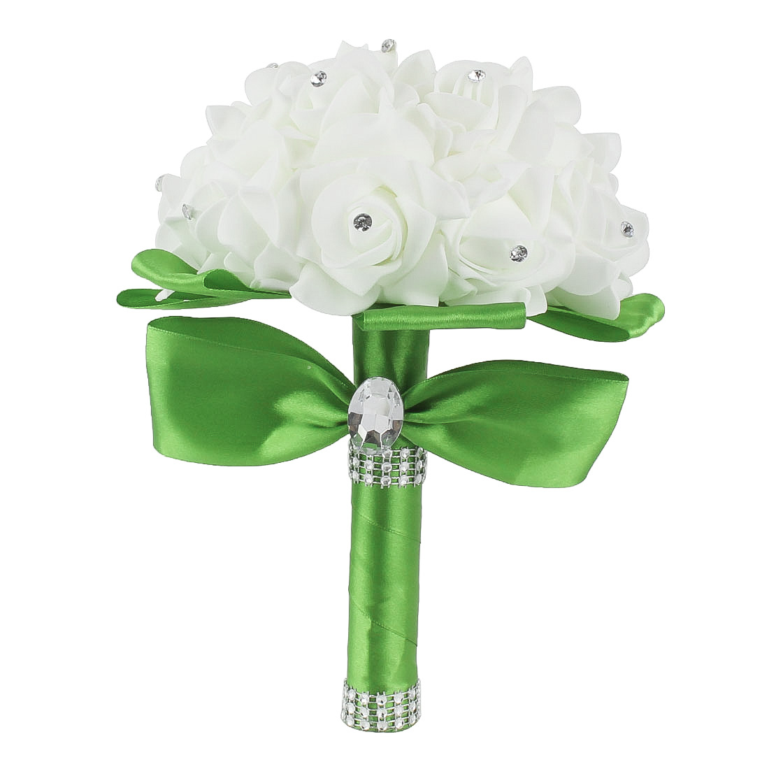 Bridal Wedding Bridesmaid Bouquet Foam Artificial Manmade Rose Flower Lawn Green