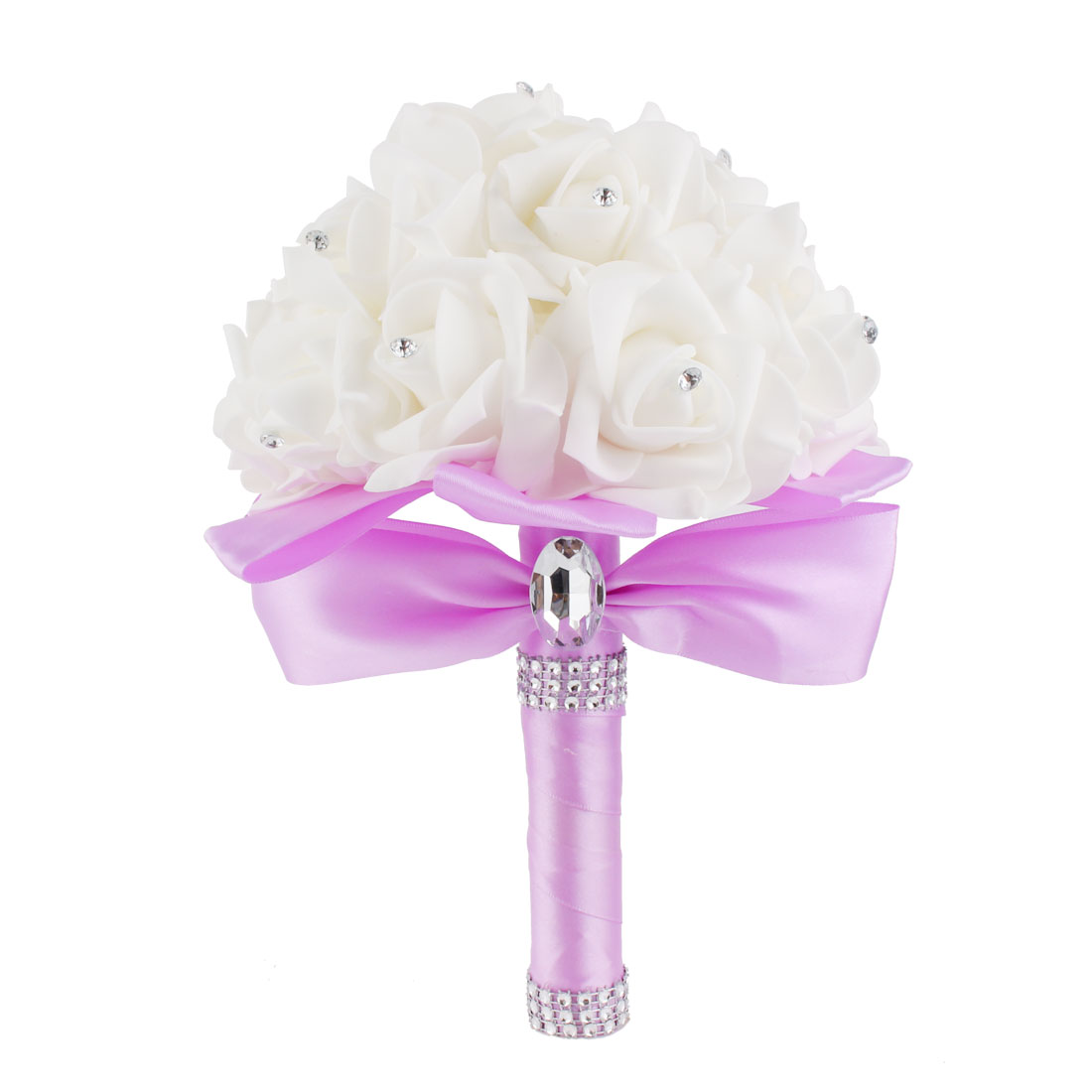 Bridal Wedding Bridesmaid Bouquet Decor Artificial Manmade Rose Flower Light Purple