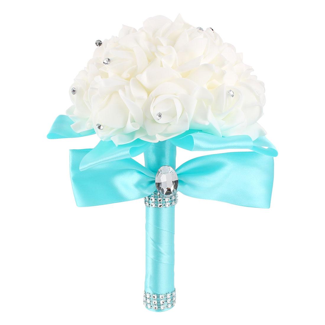 Bridal Wedding Bridesmaid Rose Bouquet Room Decor Foam Globular Artificial Flower Cyan