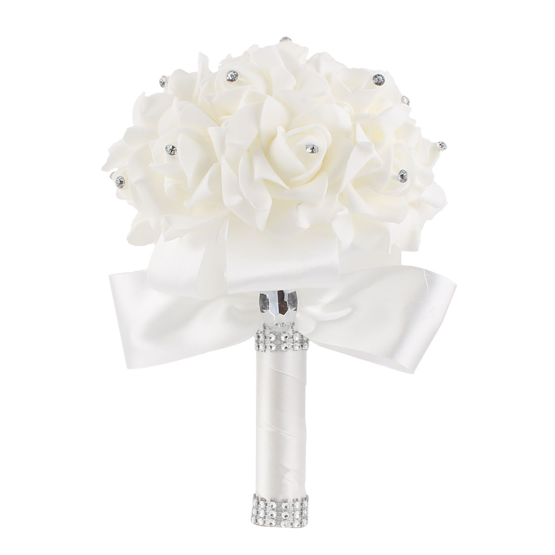 Bridal Wedding Bridesmaid Holding Bouquet Artificial Manmade Rose Flower White