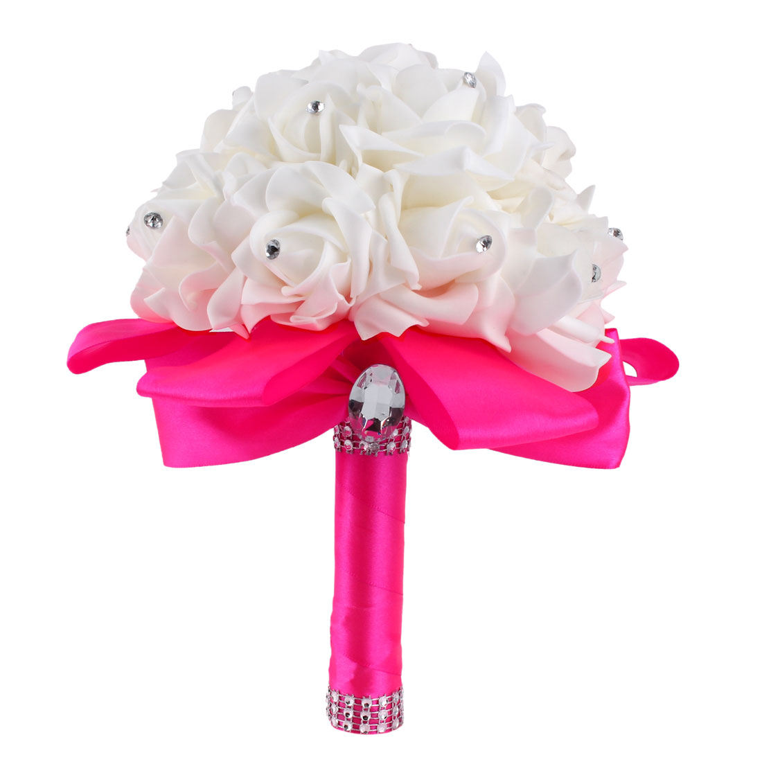 Bridal Wedding Bridesmaid Holding Bouquet Artificial Manmade Rose Flower Fuchsia