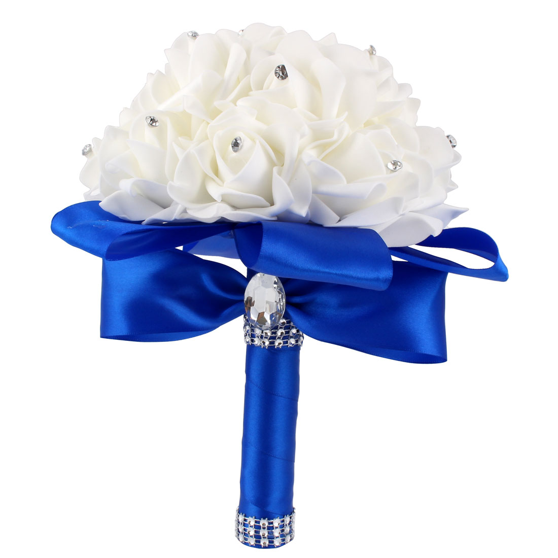 Party Office Decor Bridal Wedding Holding Bouquet Artificial Rose Flower Royal Blue