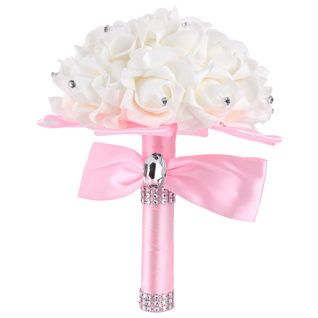 Bridesmaid Bridal Wedding Bouquet Rhinestone Decor Artificial Rose Flower Pink