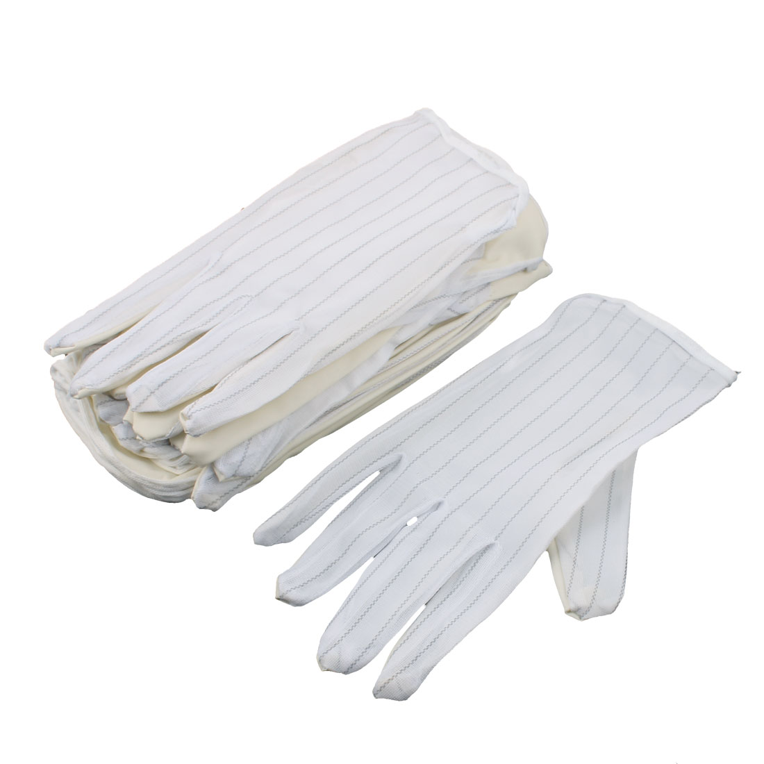 10 Pairs Full Finger Protector Striped Anti-static Skidproof Coated Gloves White