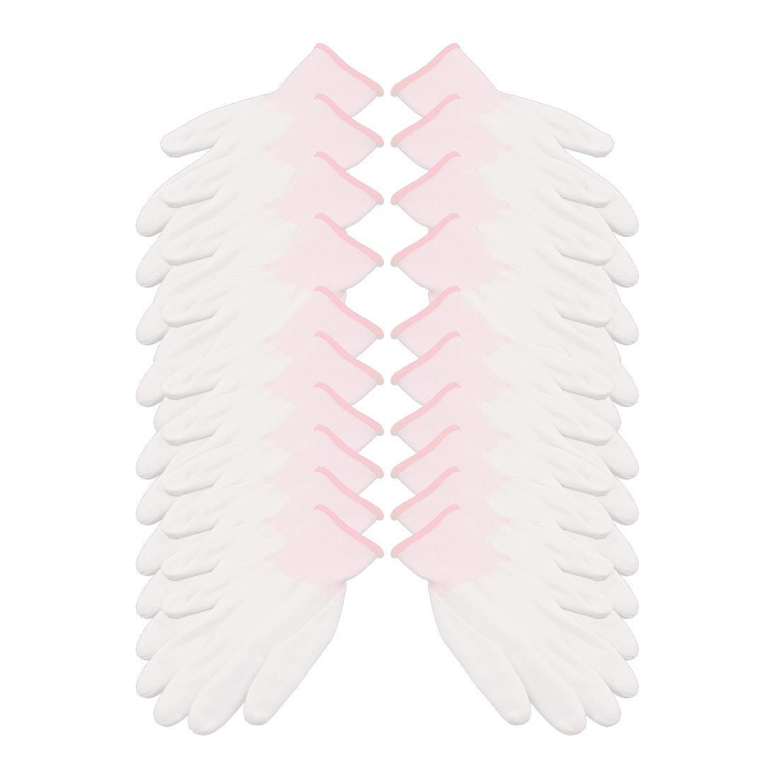 10Pairs 13 Needles Nylon Labor Protection Anti-static Non-slip Gloves White Pink