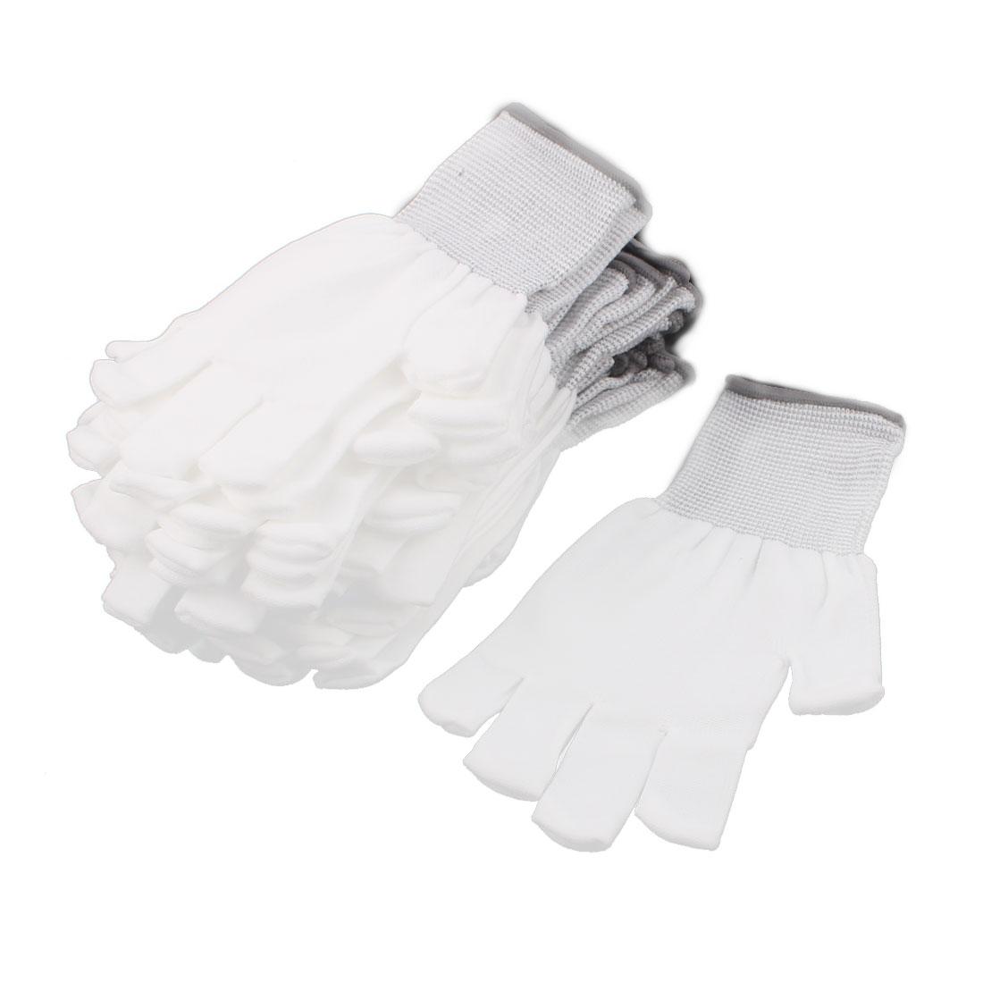 10Pairs Nylon Labor Protection Anti-static Non-slip Gloves Half Finger White