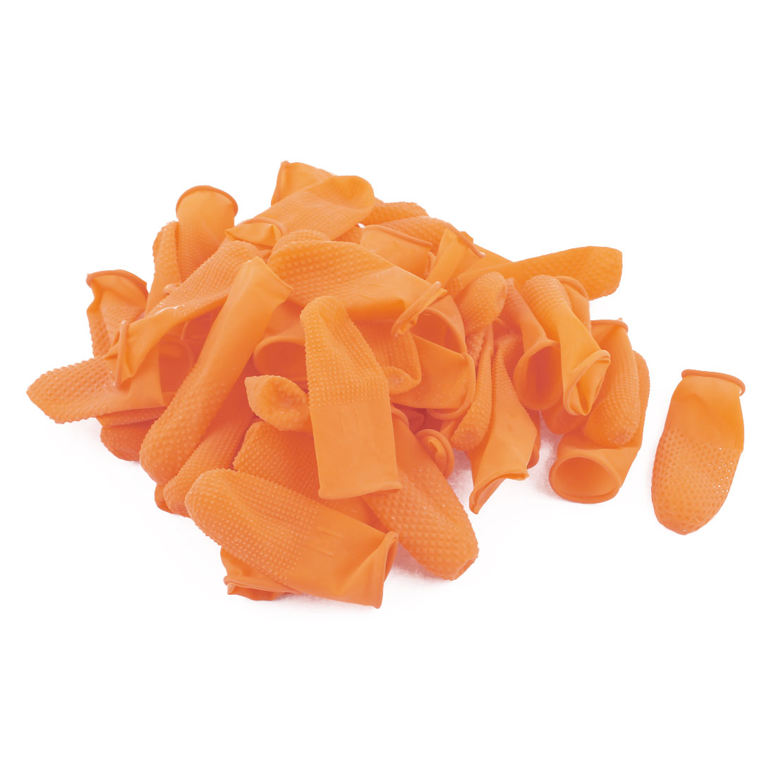 100pcs Antislip Fingertips Gloves Latex Rubber Finger Cots Antistatic Gloves Orange