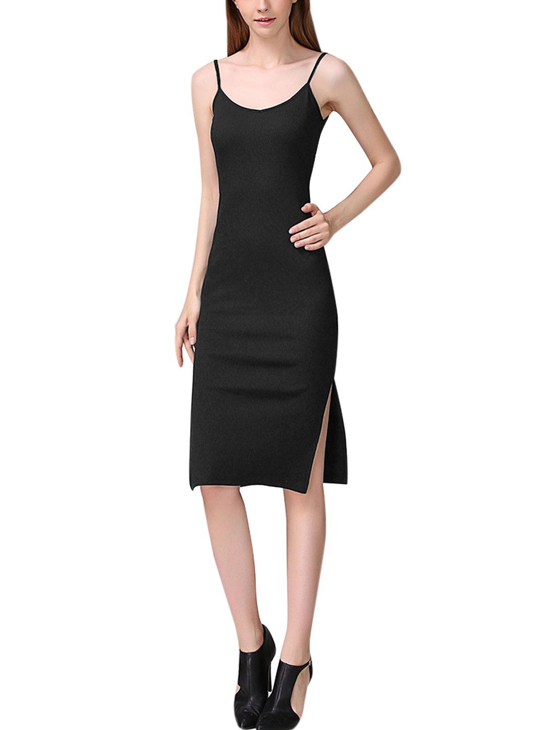 Women Spaghetti Straps V Neck Split Sides Knitted Dress Black XS