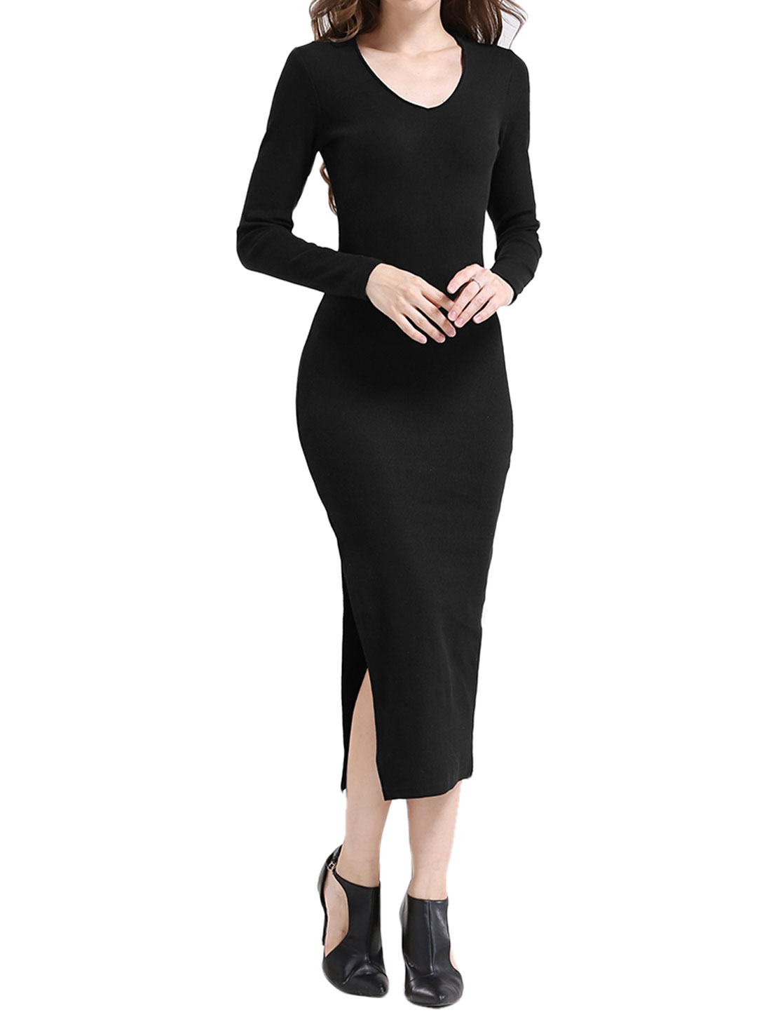 Women V Neck Long Sleeves High Split Side Knitted Dress Black XS