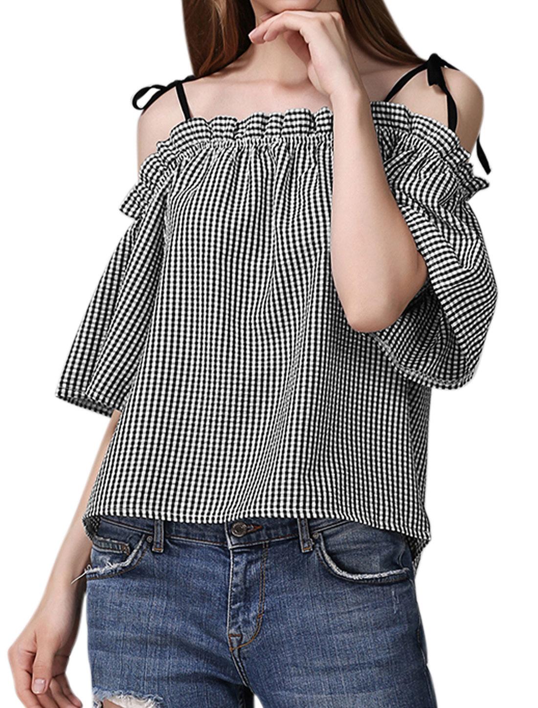 Women Plaids Open Shoulder Self Tie Spaghetti Straps Blouse Black XS