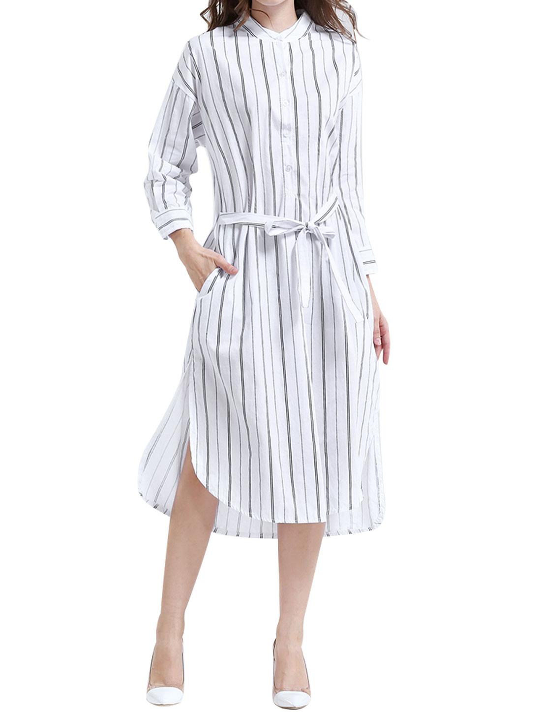 Women Half Placket Stripes Split Sides Belted Shirt Dress White S