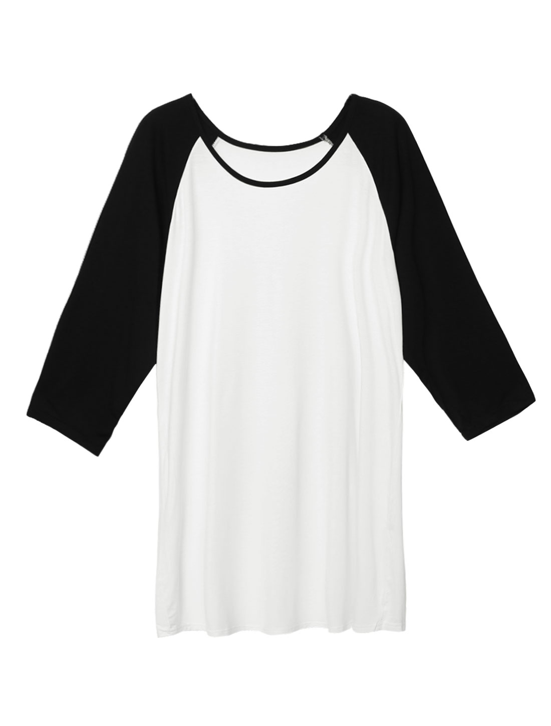 Women 3/4 Raglan Sleeves Contrast Color Tunic T-shirt White S