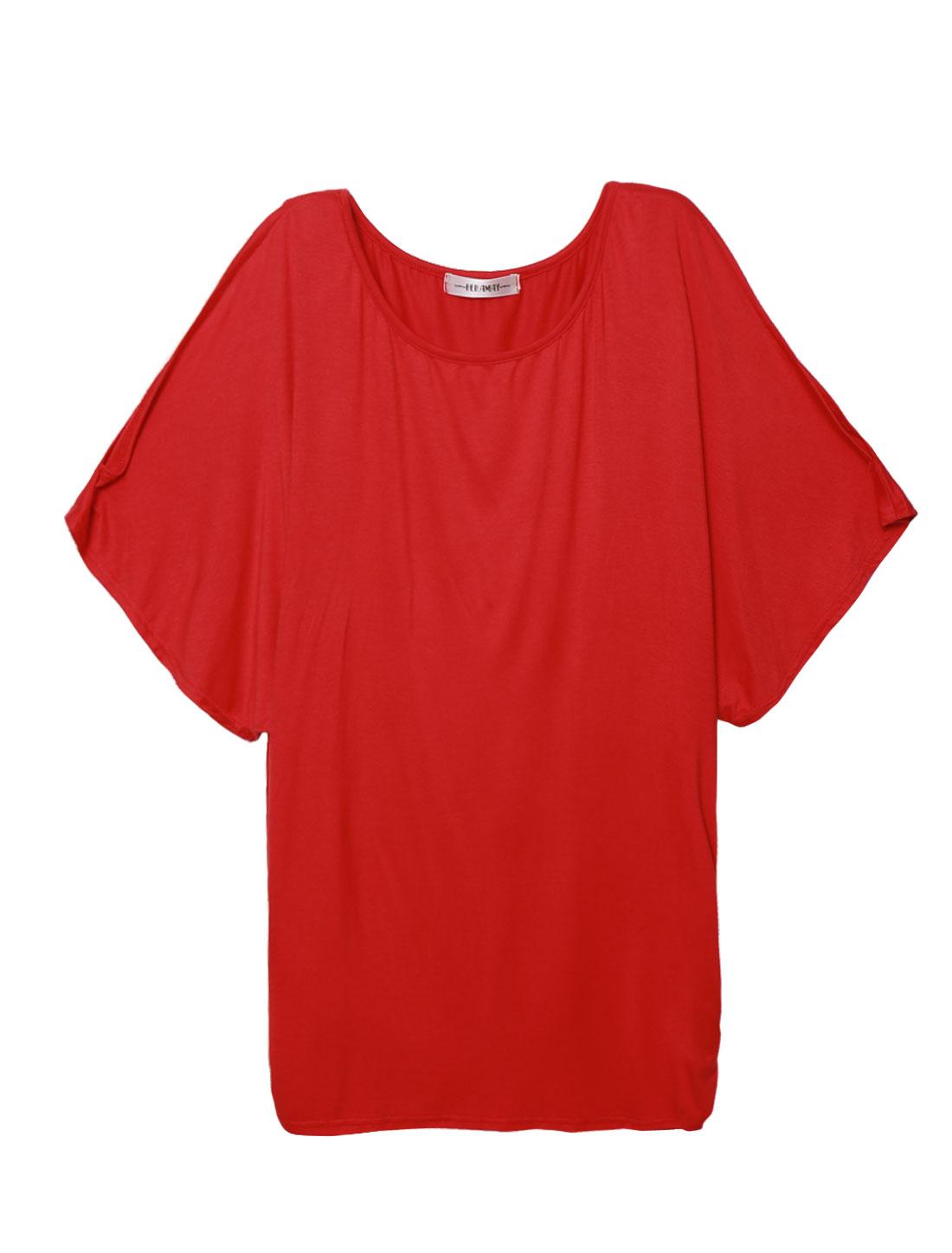 Women 3/4 Kimono Sleeves Round Neck Shirred Sides Tunic Top Red L