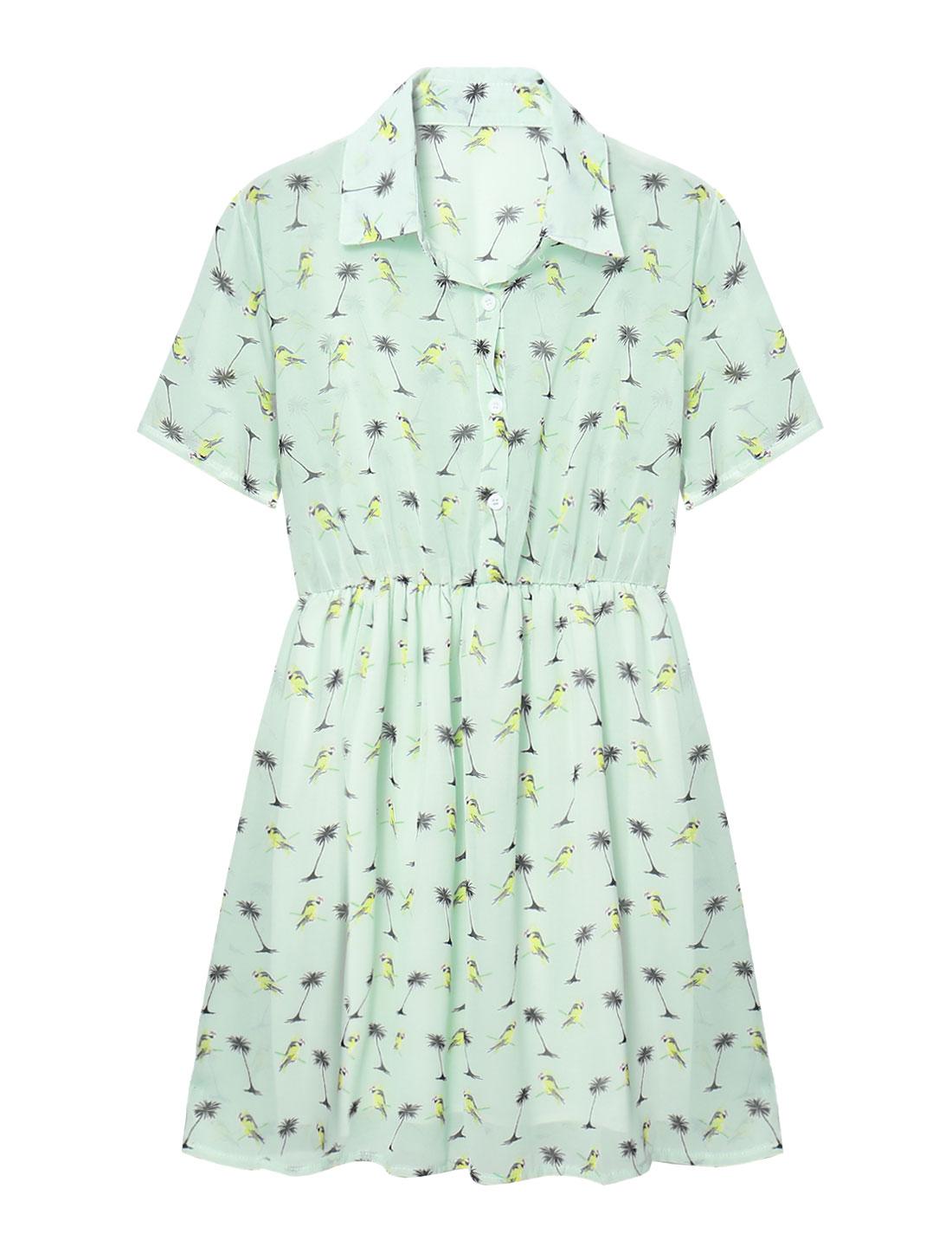 Women Parrots Trees Prints Sheer Chiffon Shirt Dress Green S