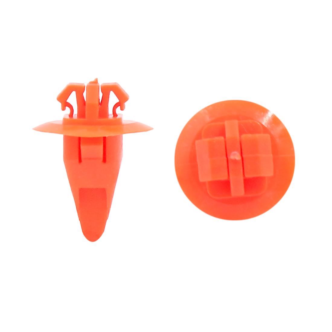 40Pcs Orange Plastic Rivets Bumper Fender Clips Arch Mouldings Fastener 8 x 10mm