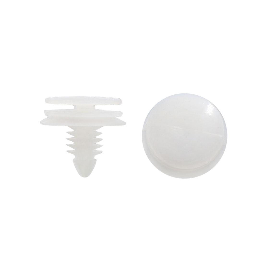 100Pcs White Plastic Rivets Fender Bumper Push Type Fastener Clip 7 x 8mm for Car
