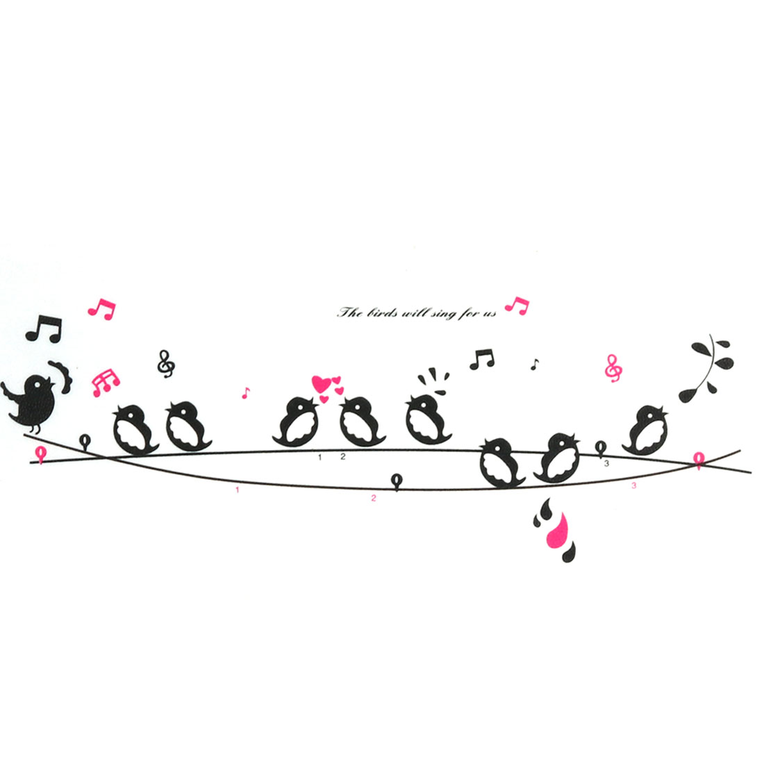 Bedroom 9 Birds Singing On The Wire Print Decal Mural Art Decor Wall Sticker