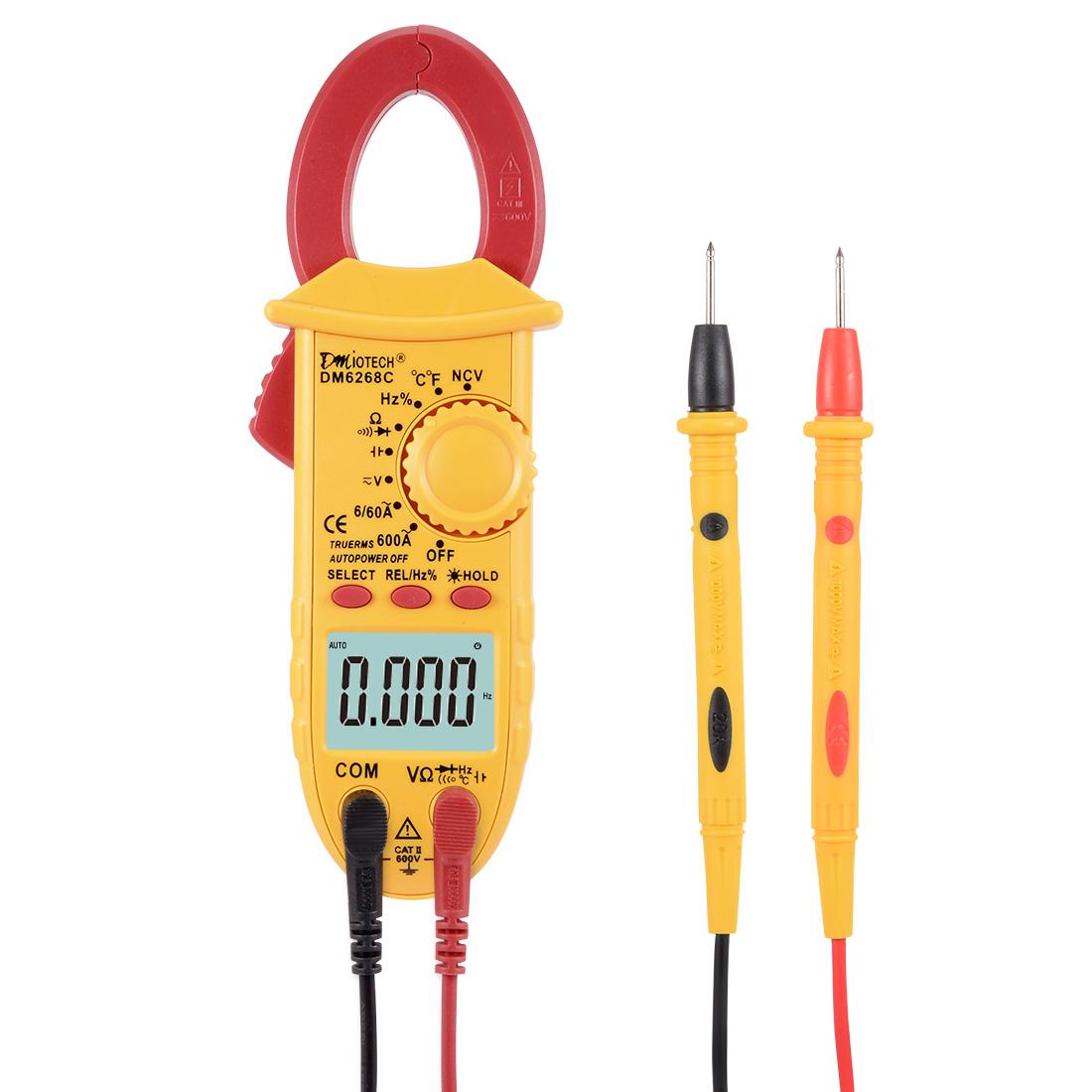 DM6268C Mini Digital Multimeter Ammeter Voltage ACV DCV Ohm Clamp Meter Tester Handheld