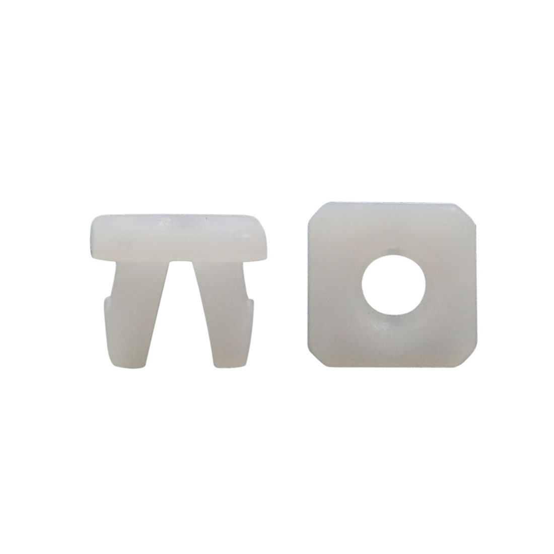 30Pcs White Square Plastic Rivets Fender Fastener Retainer Clips 10 x 7.5mm