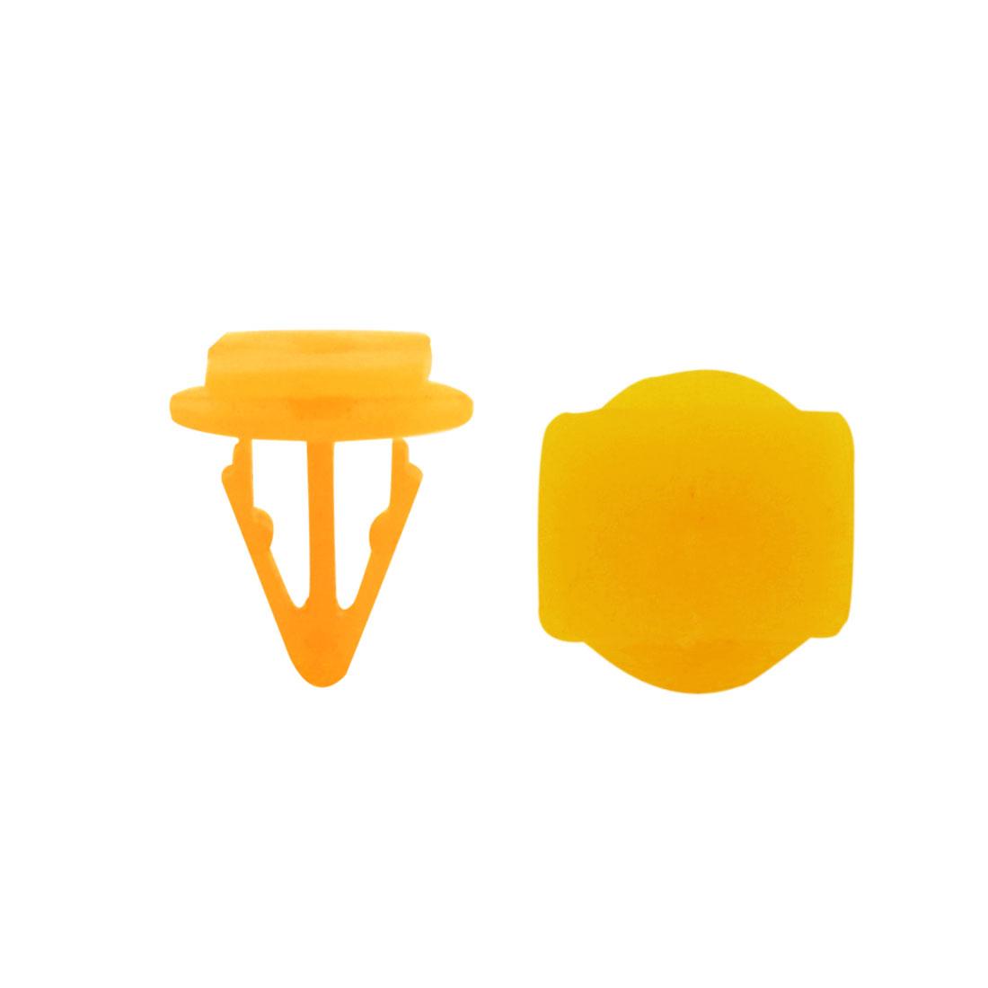 40Pcs Plastic Rivets Carpet Floor Mat Clips 10mm Hole Dia Yellow for Auto Car