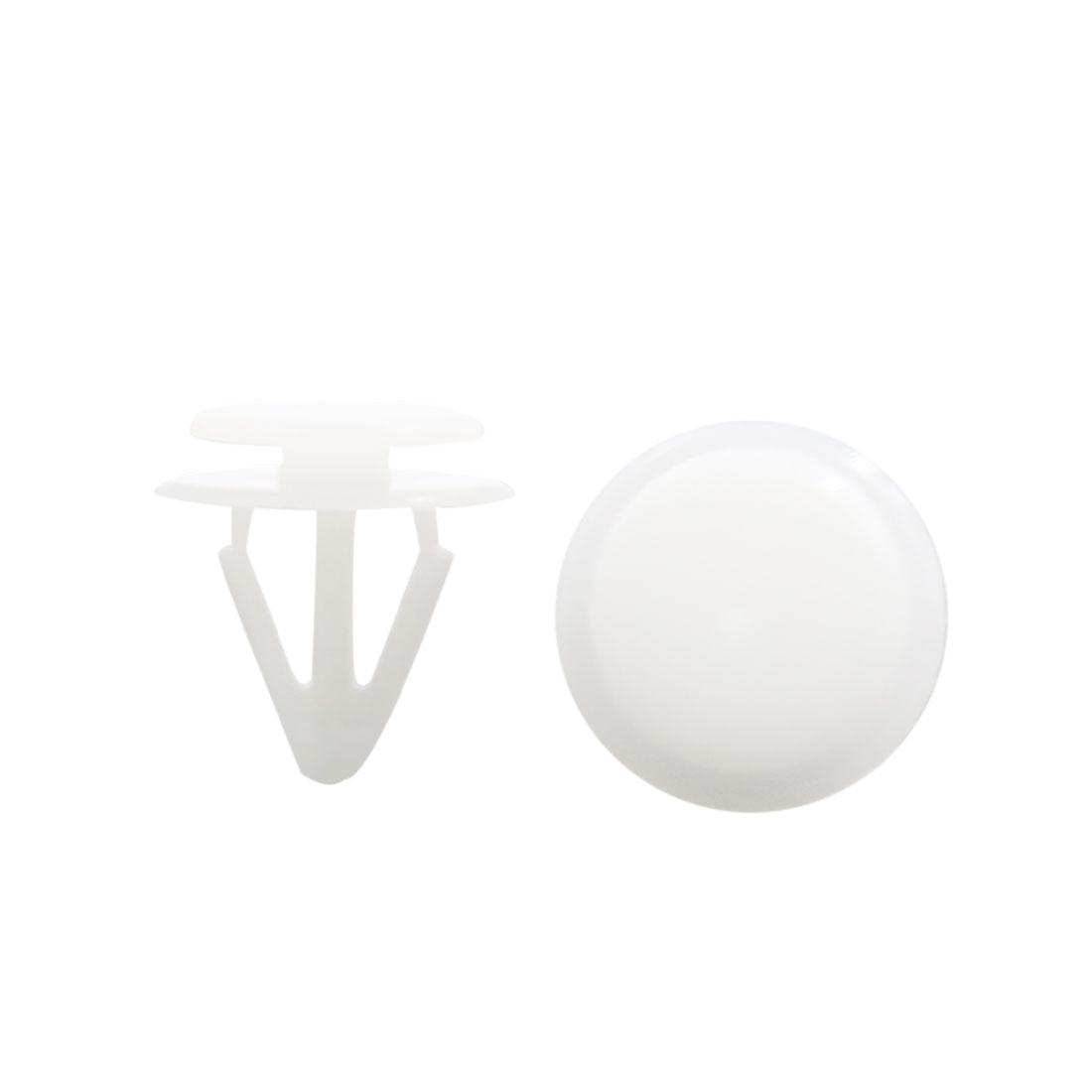 100Pcs Universal Plastic Rivets Panel Bumper Retainer Fastener Clips White 10mm