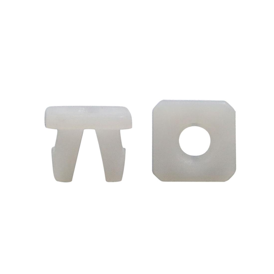 100Pcs White Square Plastic Rivets Fender Fastener Retainer Clips 10 x 7.5mm