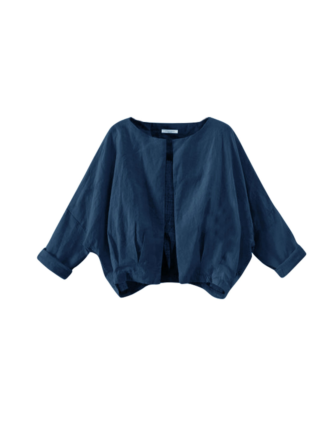 Women Long Sleeves Pleated Detail Loose Batwing Cardigan Blue S