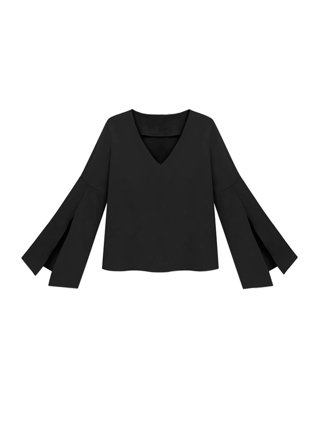 Women V Neck Bell Sleeves High Split Cuffs Blouse Black S