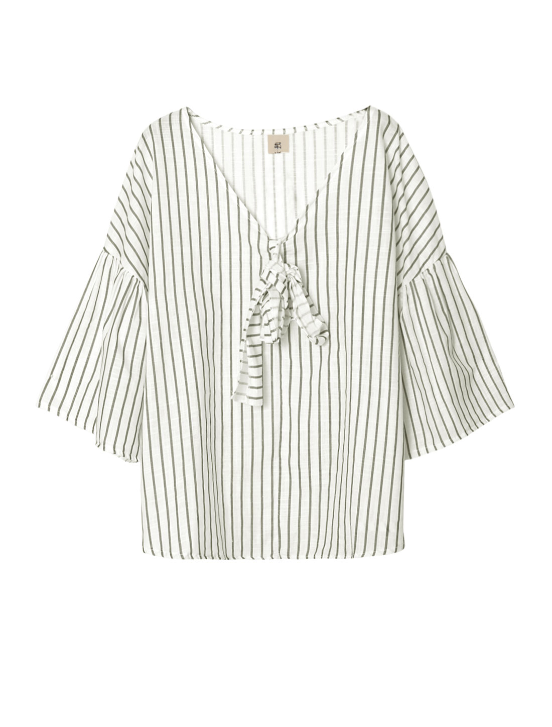 Women Striped Self Tie Front 3/4 Bell Sleeves Loose Top White S