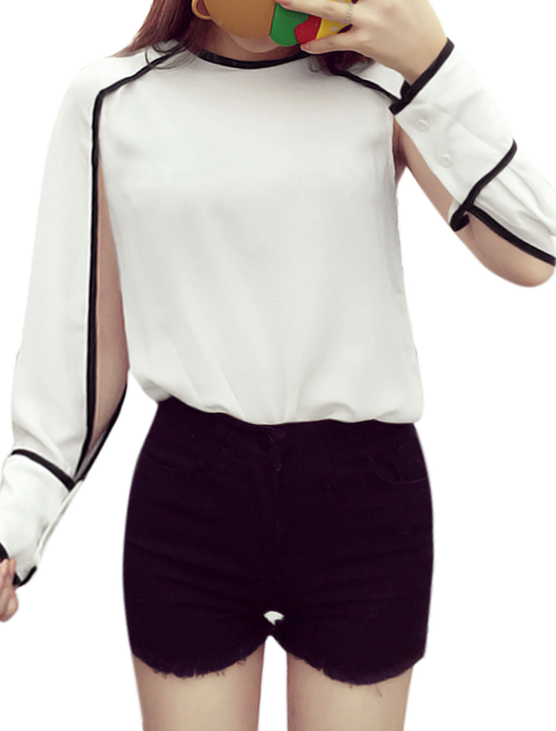 Women Split Sleeves Crew Neck Contrast Trim Tee Shirt White XS