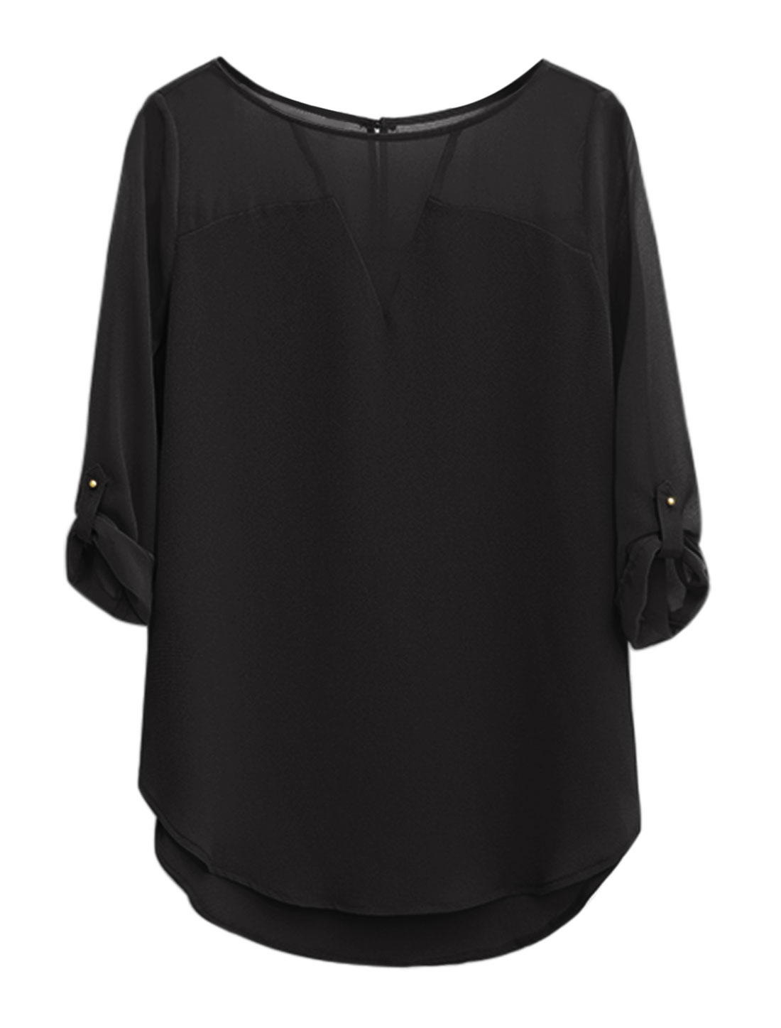 Women Roll Up Sleeves Round Hem Paneled Tunic Chiffon Top Black M