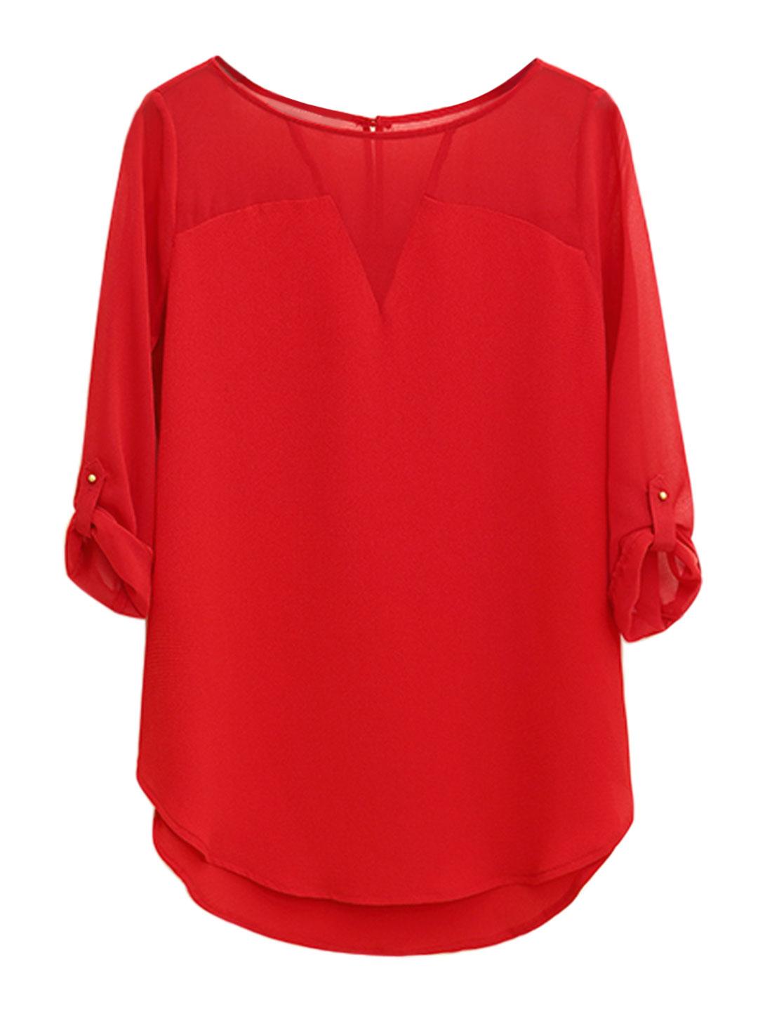Women Roll Up Sleeves Round Hem Paneled Tunic Chiffon Top Red M
